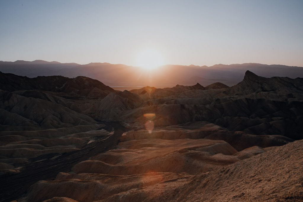 sunset on Zabriskie Point in Death Valley