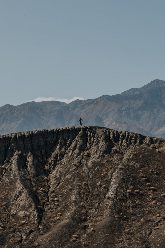 Walking the Ridge Line on Ubehebe Crater in Death Valley